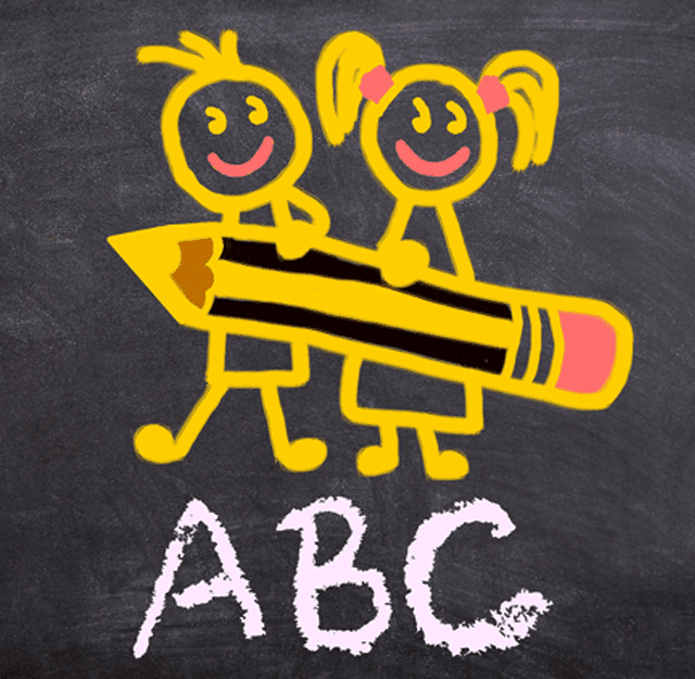 chalk drawing of two figures and a pencil for the Prepare-Your-Child-For-Preschool-featured-image