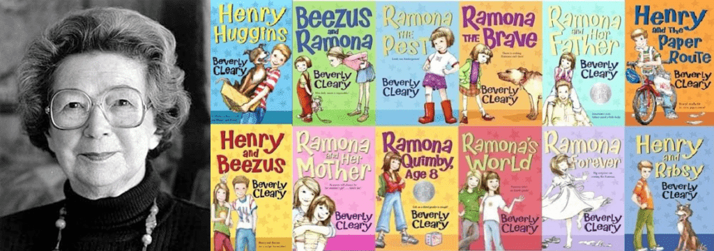 An image of Beverly Cleary with some of her books for the Header Image of the Article