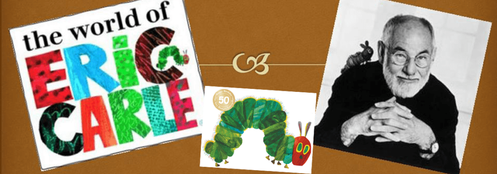 An image of Eric-Carle-and some characters for the Banner