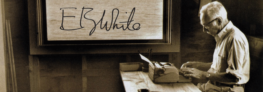 an image of E.B. White writing in his favourite spot for the -Header-Image