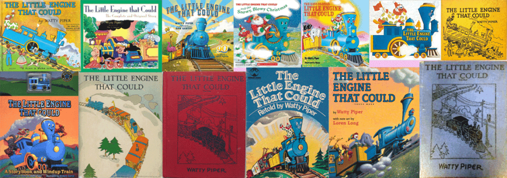 an image of all the versions of Watty-Pipers book for the-Banner-for-article